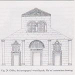 Reconstruction of front facade, courtesy of Zvi Maoz © <i> synagogues.kinneret.ac.il </i>