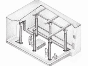 Drawn by Tchelet  Rom Studio Y, courtesy of the Herodium Expedition . Institute of Archaeology,  The Hebrew University of  Jerusalem © <i> synagogues.kinneret.ac.il </i>
