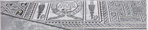 פסיפס עם כתובת יוונית. גחט 2015, 78. באדיבות שולמית מילר והחברה לחקר ארץ ישראל. © <i> synagogues.kinneret.ac.il </i>