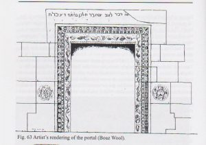 Artist's rendering of the portal, Maoz 2011: 76, courtesy of Zvi Maoz © <i> synagogues.kinneret.ac.il </i>