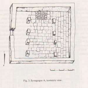 Synagogue A isometric view, Tzaferis 1982: 218 courtesy of the Israel Antiquities Authority and  the  Israel Exploration Society © <i> synagogues.kinneret.ac.il </i>