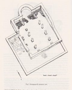 Synagogue B isometric view, Tzaferis 1982: 220 courtesy of the  Israel Antiquities Authority and  the Israel Exploration Society © <i> synagogues.kinneret.ac.il </i>