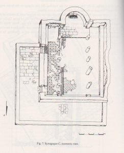 Synagogue C isometric view, Tzaferis 1982: 222 courtesy of the Israel Antiquities Authority and  the  Israel Exploration Society © <i> synagogues.kinneret.ac.il </i>