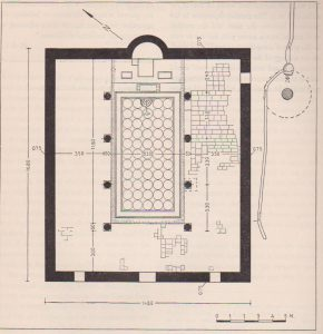 Reconstruction plan Dunayevsky 1960: 23, courtesy of the Institute of Archaeology  the Hebrew University of Jerusalem © <i> synagogues.kinneret.ac.il </i>