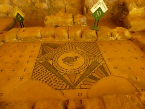 The Bema and the mosaic  on the northern patt - Gilead Peli all rights reserved © <i> synagogues.kinneret.ac.il </i>