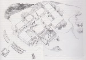 Isometric reconstruction drawn by Rachel Graff, Zissu and Ganor 2002: 22, courtesy of Boaz Zissu, Amir Ganor and the Israeli Exploration Society © <i> synagogues.kinneret.ac.il </i>