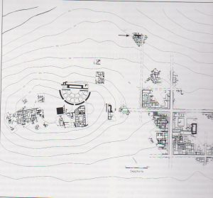 General plan of the site,  The Synagogue is marked with an arrow, Weiss 2005: 2, courtesy of Prof. Zeev Weiss, The Sepphoris Excavations​, The Hebrew University of Jerusalem​. © <i> synagogues.kinneret.ac.il </i>