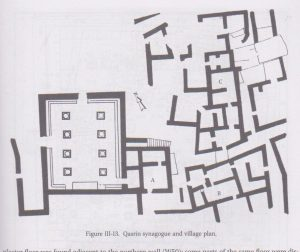 Synagogue and village plan,  Hachlili 2013: 81, drawn by Natasha Zak Israel Antiquities Authority, courtesy of Rachel Hachlili © <i> synagogues.kinneret.ac.il </i>