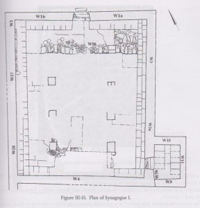Synagogue I  Hachlili 2013: 83,  drawn by Natasha Zak Israel Antiquities Authority, courtesy of Rachel Hachlili © <i> synagogues.kinneret.ac.il </i>