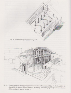 Isometric and cut reconstruction of phases 2-4 with corner pillars. Meyers et. al. 1990:70. Courtesy of Eric Meyers. © <i> synagogues.kinneret.ac.il </i>