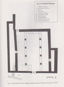 Plan, phase 1. Meyers et. al. 1990:65. Courtesy of Eric Meyers  © <i> synagogues.kinneret.ac.il </i>