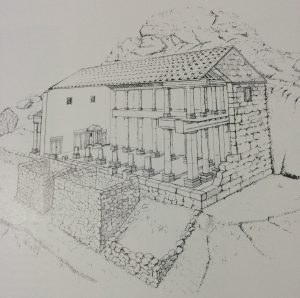 Section reconstruction - Meyers, Strange, Meyers 1982:13. Courtesy of Eric Meyers. © <i> synagogues.kinneret.ac.il </i>