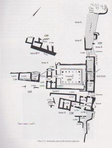 תוכנית של הרובע המזרחי. יבור 2010, 40. באדיבות רשות העתיקות. © <i> synagogues.kinneret.ac.il </i>
