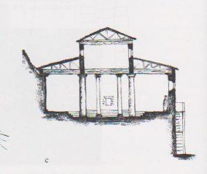חתך. יבור 2010, 50. באדיבות רשות העתיקות. © <i> synagogues.kinneret.ac.il </i>
