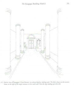 שחזור חלל בית הכנסת. Meyers and Meyers 2009: 55. באדיבות אריק מאיירס. © <i> synagogues.kinneret.ac.il </i>