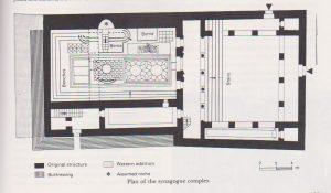 """גוטמן, ייבין ונצר 1981, 123. באדיבות קמ""""ט ארכיאולוגיה והחברה לחקירת ארץ ישראל. © <i> synagogues.kinneret.ac.il </i>"""