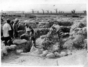 Excavation of the site, on the right side Shlomo Goldschmidt the excavator -  courtesy of Reuven Or Kibbutz Tirat Tzvi archive © <i> synagogues.kinneret.ac.il </i>