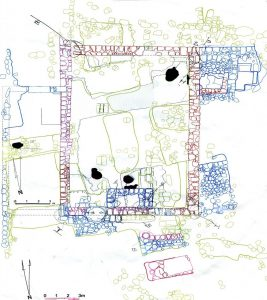 Synagogue plan. Courtesy of the University of Puget Sound and Centre College Excavations at Khirbet Qana © <i> synagogues.kinneret.ac.il </i>